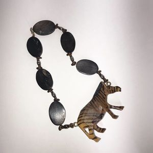 Wooden hand carved and painted zebra necklace